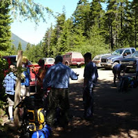 Splitting equipment at the trailhead