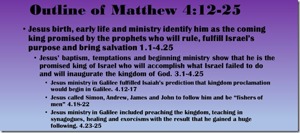 Outline of Matthew 4.12-25