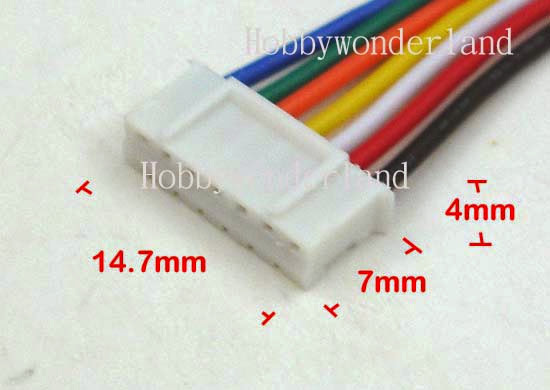 Jst 2 0mm Ph 7 Pin Female Housing Connector With Wire And