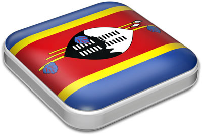 Flag of Swaziland with metallic square frame