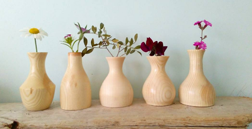 wooden stick vases