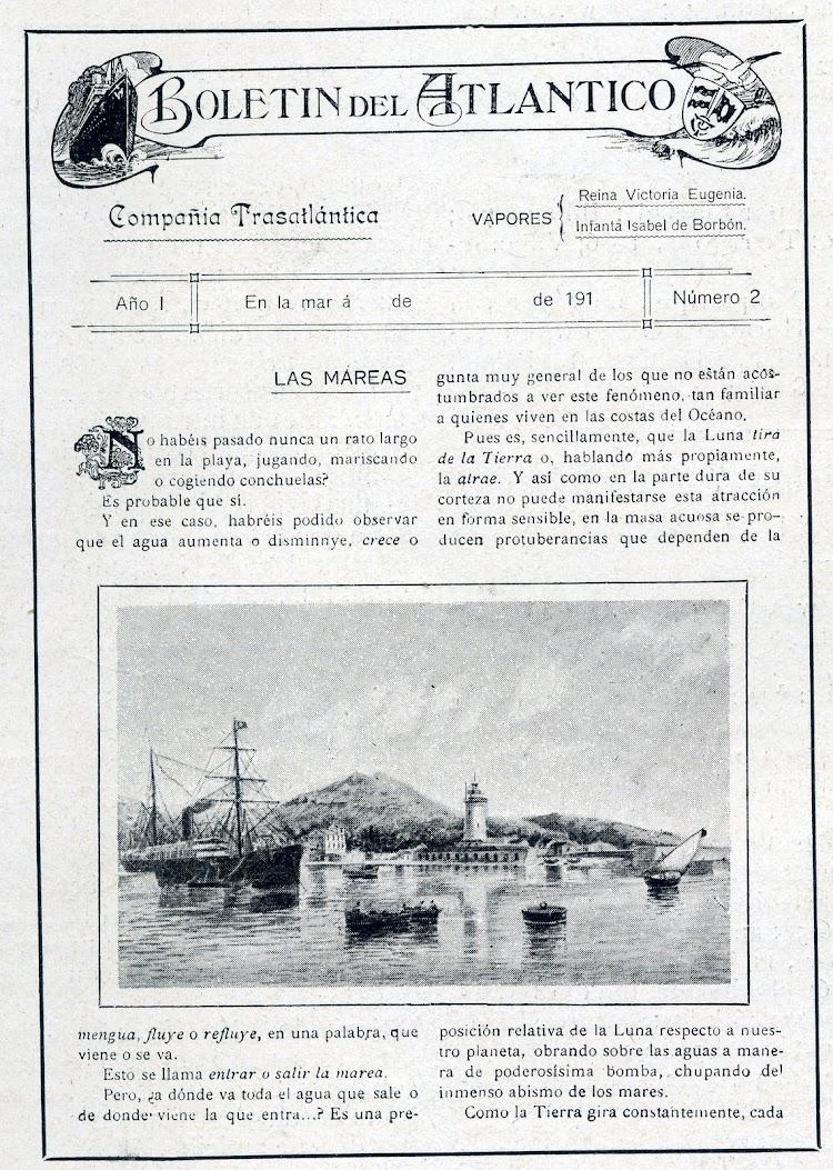 37-Primera pagina del numero 2 del Boletín del Atlántico. Editado por el Sr. Agacino, e impreso a bordo. Vida Maritima. Año 1913.jpg