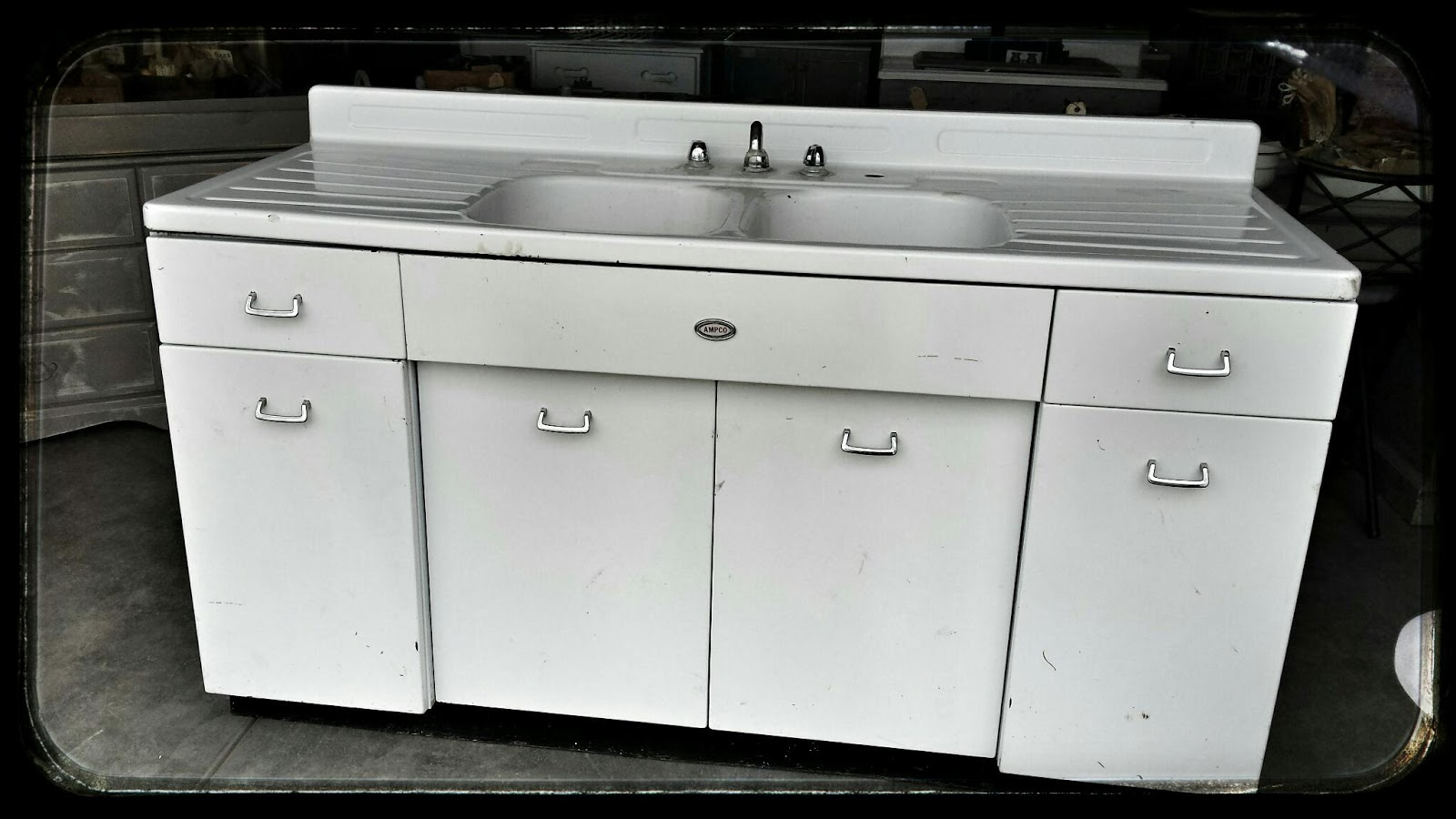 carmen 39 s curiosity shop 6 foot old white metal sink with metal cabinet. Black Bedroom Furniture Sets. Home Design Ideas