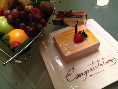 Cake and fruits at The Cove Rotana, Ras Al Kaimah