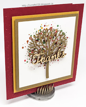 Linda Vich Creates: Thoughtful Branches Autumn Thank You. A tree trunk from the Beautiful Branches Thinlits floats over an autumn-hued leaf background in this pretty thank you card.