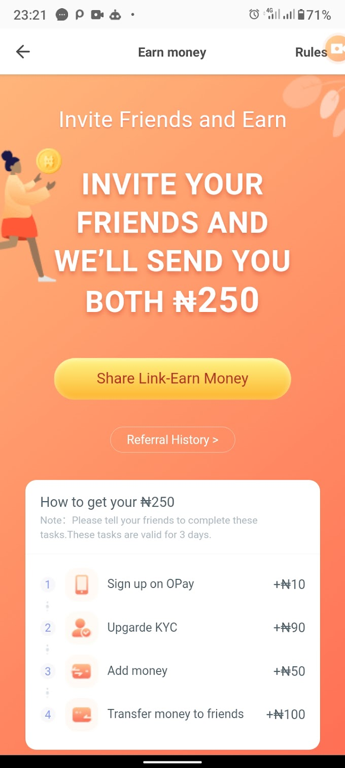 HOW TO EARN ₦250.00 ON OPAY