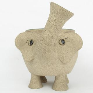 Signed Elephant Pottery Bowl