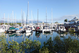 Photo: Marina, Port Douglas. Great Dividing Range mountains in distance beckoned us, and soon we were driving through and across these steep pitches to the grasslands and savannas beyond.