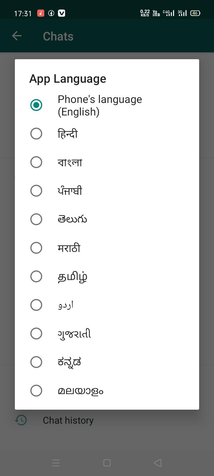 WhatsApp app language