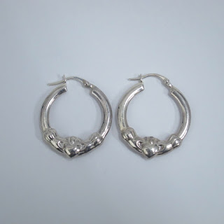 Sterling Sliver Claddagh Hoop Earrings