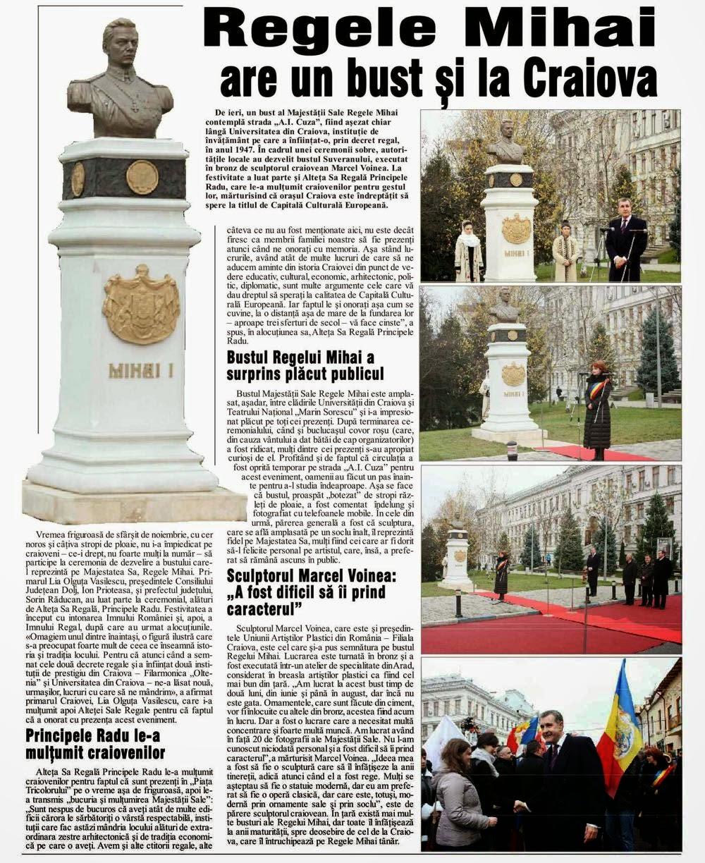 Presa despre vizita Principelui Radu la Craiova și dezvelirea bustului Regelui Mihai
