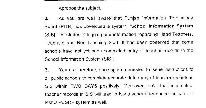 Punjab Schools Updates: Online updation of teachers on SIS