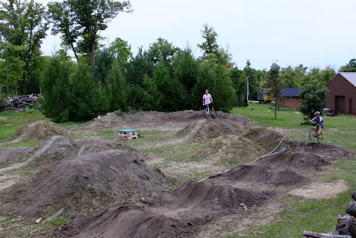 Jens checking out the new jumps at the dirt jump track.