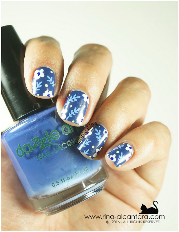 Don't Be Blue Nail Art on Dazzle Dry Mystic Blue 4U