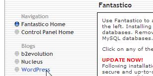 Mengakses instalasi Wordpress dari Fantastico