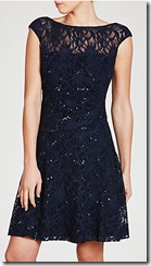 Lauren Ralph Lauren navy stretch lace fit and flare dress