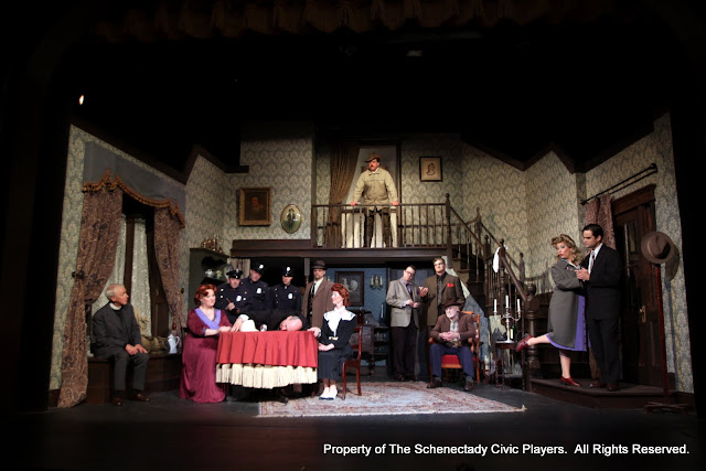 Don Wheeler, Debbie May, John Quinan, Richard Messina, Richard Cross, Michael Rzepka, Michael Schaefer, Cindy Welch, Richard Michael Roe, Robert Hegeman, Daniel Martin, Phil Sheehan, Sarah Fitizzi and Matthew Surman in ARSENIC AND OLD LACE (R) - May 2011.  Property of The Schenectady Civic Players Theater Archive.