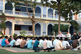 A study seminar held outside in the winter sun