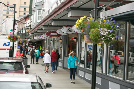 A stretch of shops along North Franklin Street in downtown Juneau, Alaska.