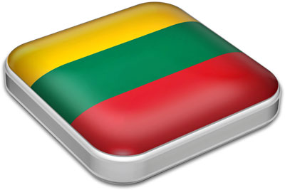 Flag of Lithuania with metallic square frame