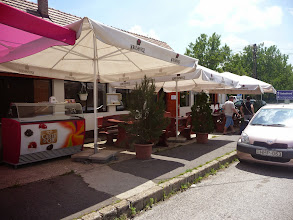Photo: Terrace of Restaurant Aranykut in Velence, Hungary. Within 50m of adapted bungalow of http://www.Gehandicapten.com