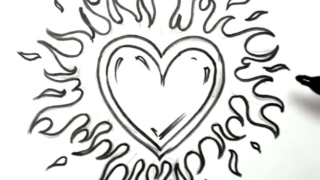 How To Draw Heart With Flames Love On Fire Youtube Clipart