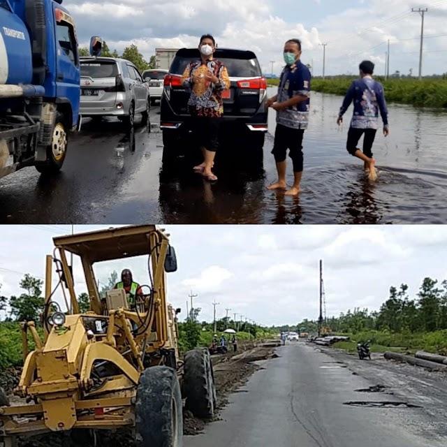 Perbaikan Jalan di Bukit Rawi Pasca Banjir Digenjot