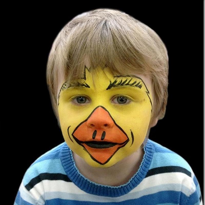 hacer un maquillaje de pato para niños