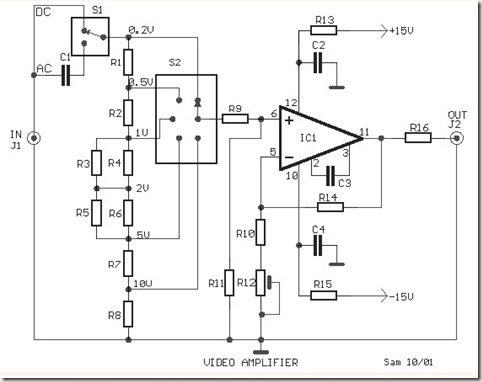 Video Amplifier Simple Circuit Diagram with opamp Simple