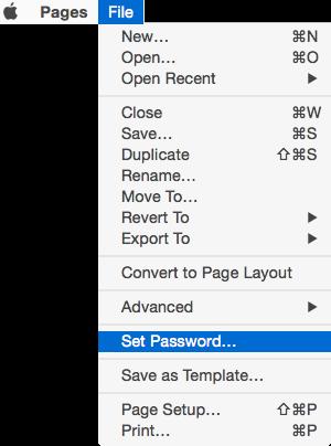 Pages set password menu and menubar