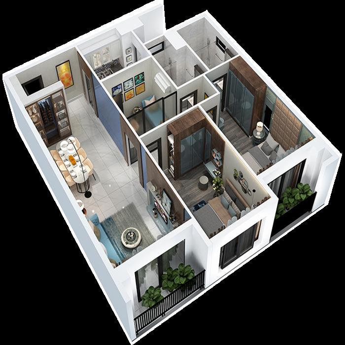 căn hộ 98.7m² - 2 Phòng ngủ