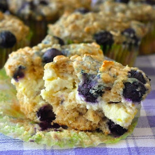 Blueberry Oatmeal Lemon Cheesecake Muffins.