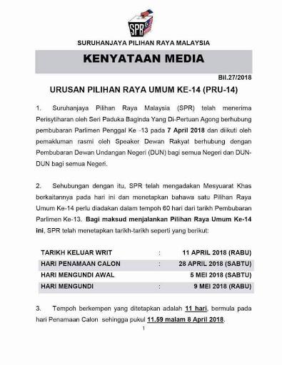 Undi PRU 14 Pada 9 Mei 2018