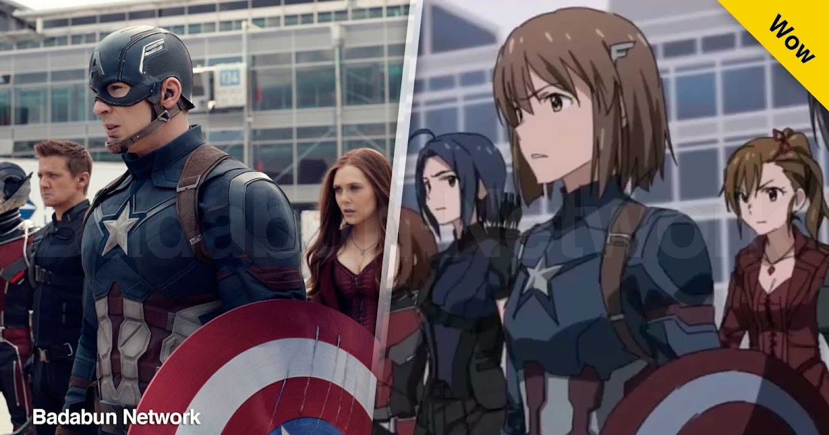 civil war iron man capitán america team cap team iron man anime