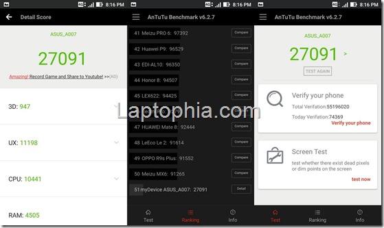 Benchmark AnTuTu v6 Asus Zenfone Live ZB501KL