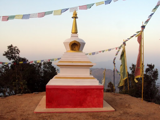 New 13.33-foot stupa in Okhaldunga District, Nepal, built under Losang Namgyal Rinpoche's guidance. Photo courtesy of Losang Namgyal Rinpoche.