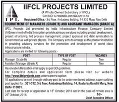 IIFCL Projects Limited Recruitment 2016 www.indgovtjobs.in