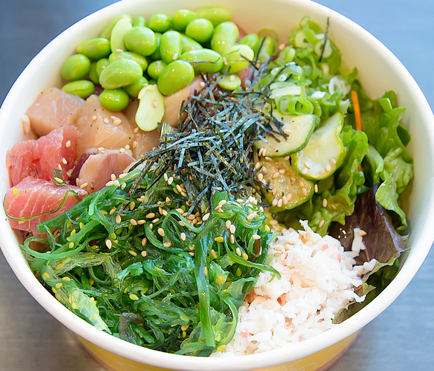 overhead photo of a poke bowl