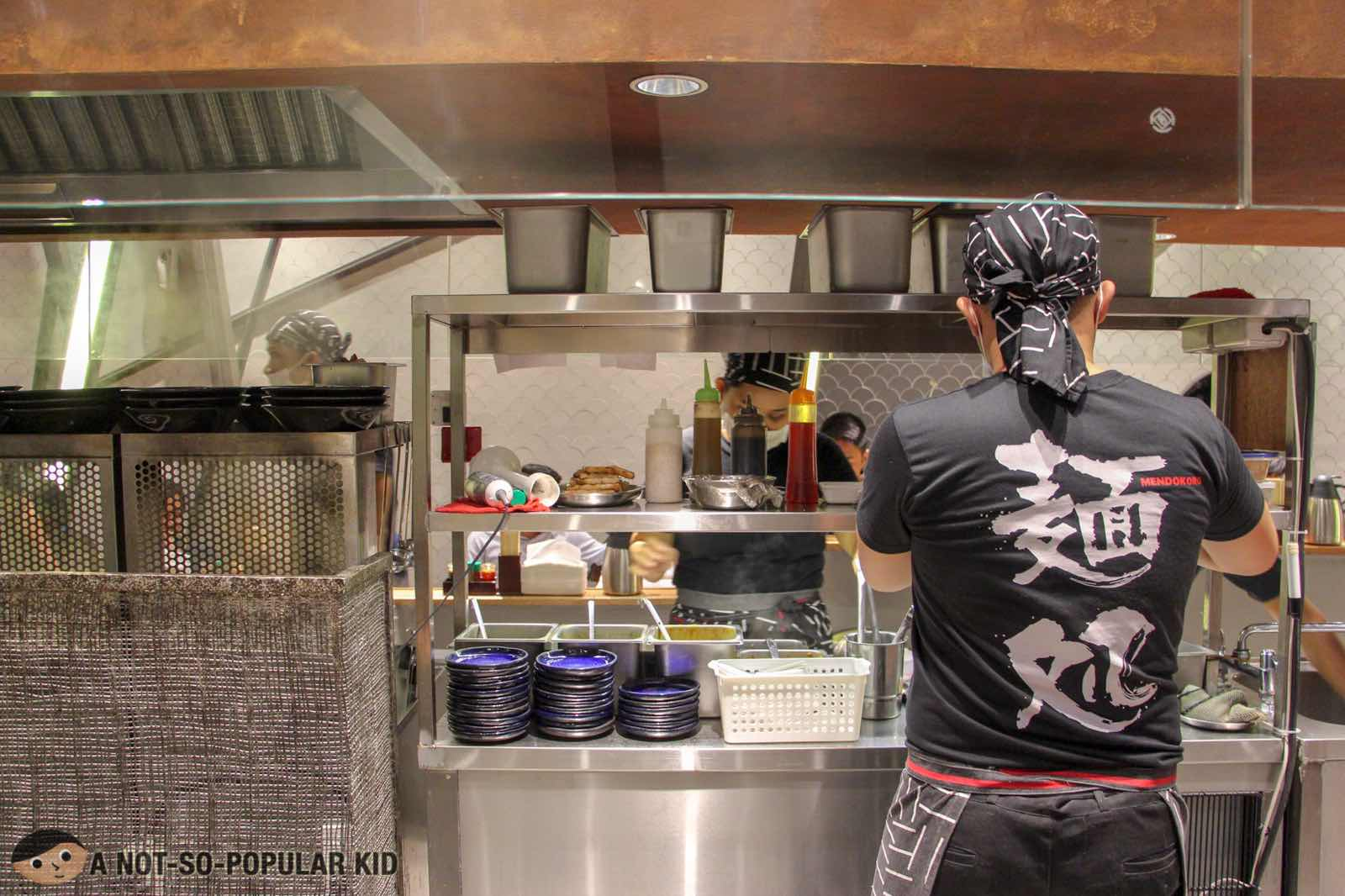 Passionate servers of ramen in Mendokoro Ramenba