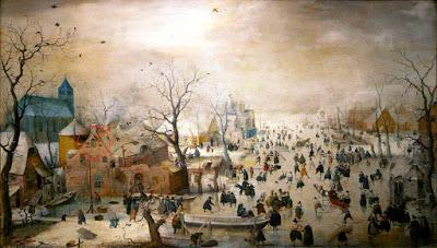 Hendrick Avercamp, Winterlandschap met Schaatsers (1608)