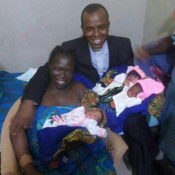 Father Mbaka Poses With His Singer Who Gave Birth To Triplets After HisProphesy (Photos)