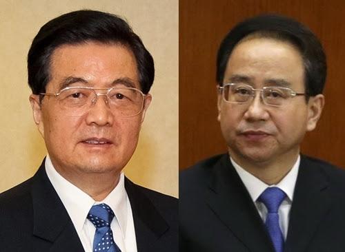 Cựu Chủ tịch Trung Quốc Hồ Cẩm Đào (trái) vàcựu chánh văn phòng trung ương đảng Lệnh Kế Hoạch. Ảnh: Chinatoday/Reuters