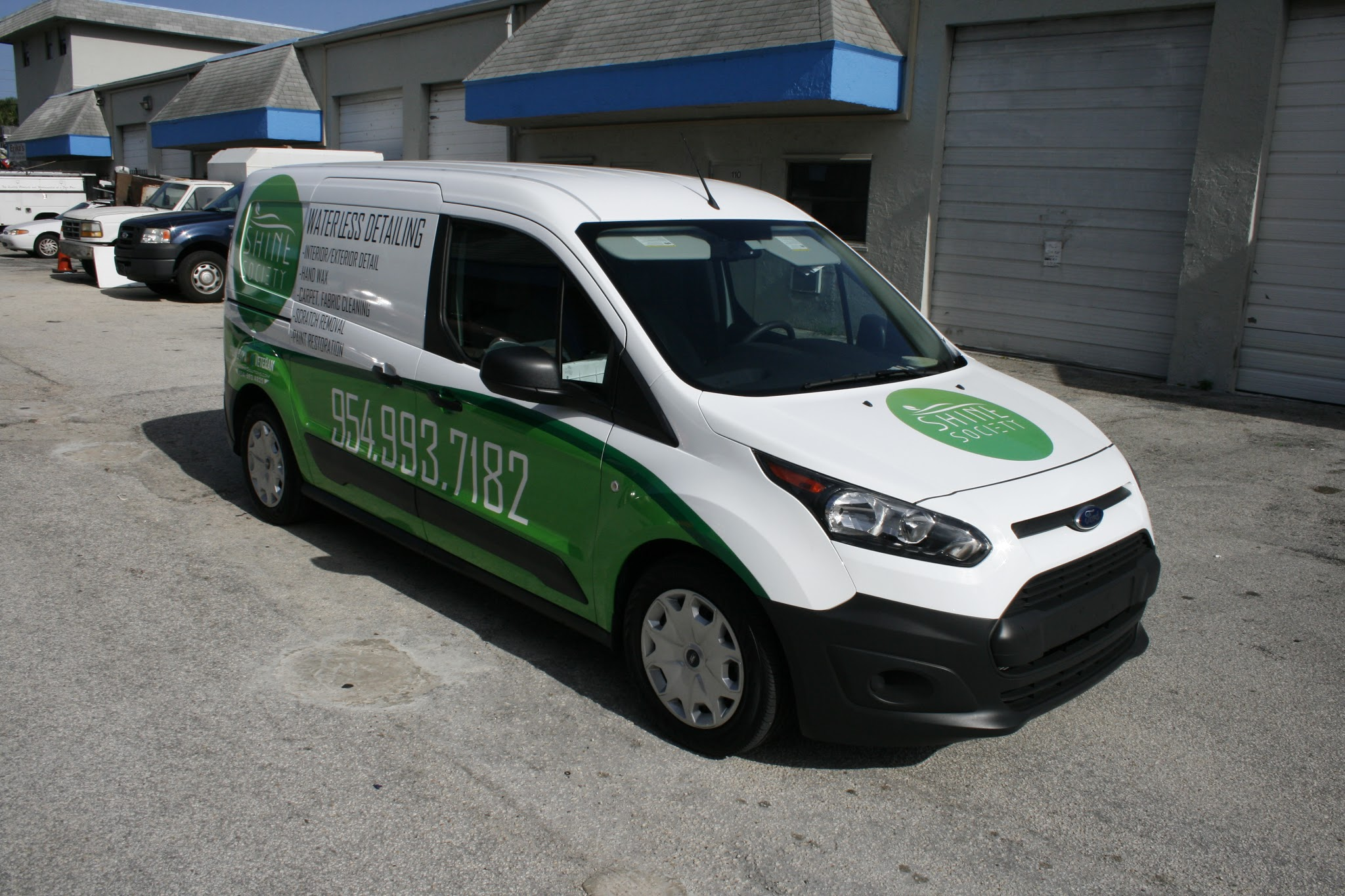 New And Fresh Car Wrap On Ford Transit Connect Work Van For Detailing Special