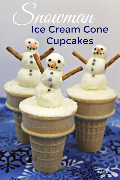 These Snowman Ice Cream Cone Cupcakes are perfect for winter, Christmas, or Christmas in July!