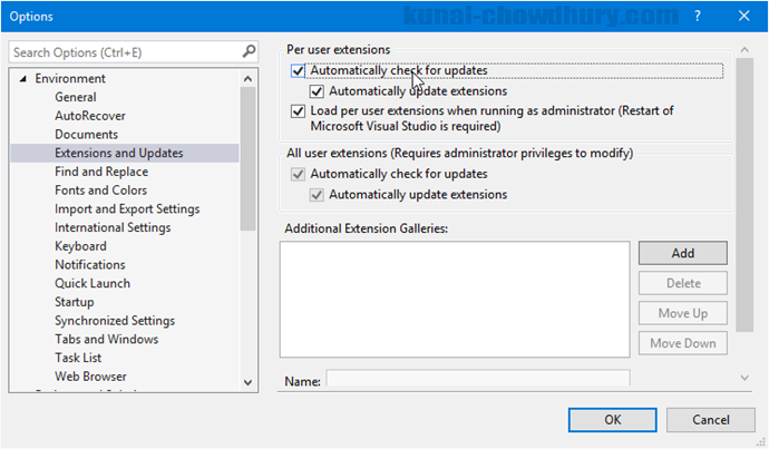 Visual Studio 2015 - Automatically check for extension updates (www.kunal-chowdhury.com)