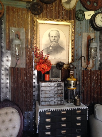 Pollyanna reinvents industrial and steampunk decor tour for Steampunk living room ideas