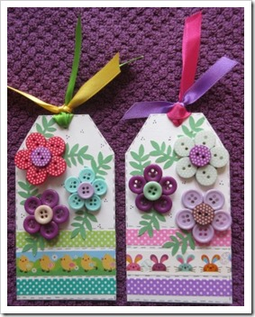 Easter Crafts Easter Button Brooches on Gift Tag 2