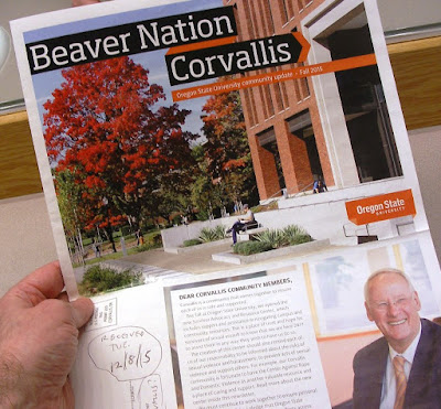 Glossy newspaper Beaver Nation Corvallis Fall 2015 received in U.S. mail 12/8/15 - cover shows President Ed Ray and next page Corvallis livability index