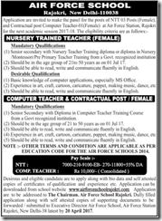 Air Force School Rajokri Advertisement 2017 www.indgovtjobs.in
