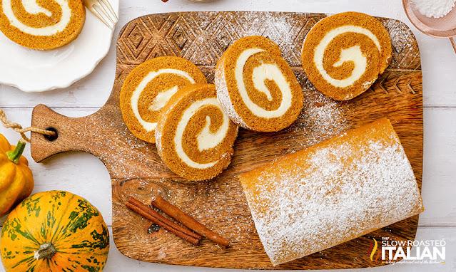 pumpkin spice roll on a cutting board